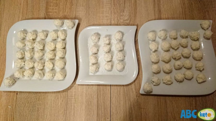 Keto Raffaello balls on plates, Raffaello fat bombs, coconut fat bombs