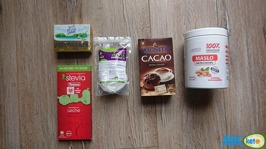 Ingredients for keto chocolate peanut butter fat bombs