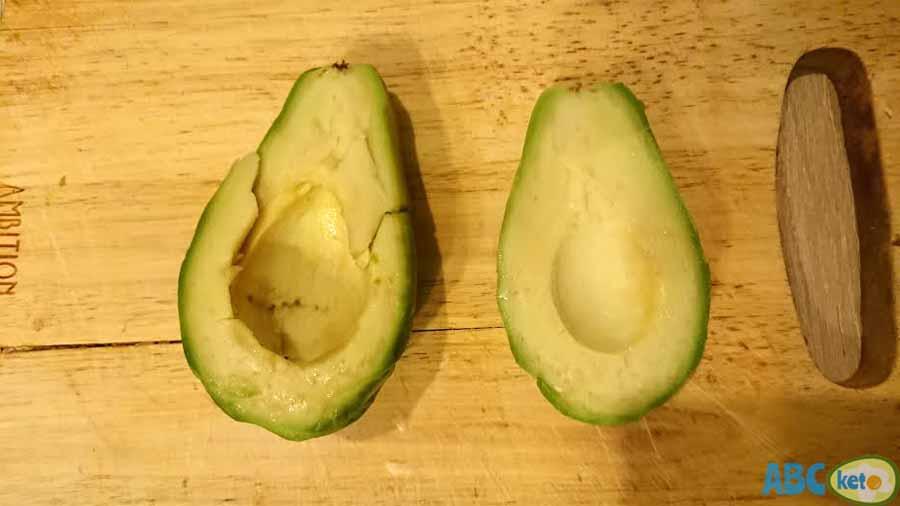 Keto egg salad recipe instructions, peeling avocado