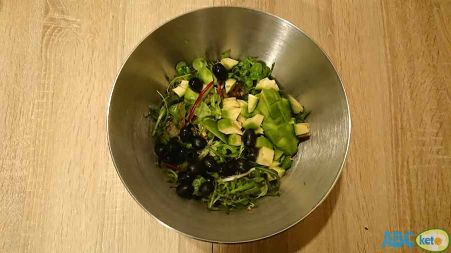 Keto egg salad recipe instructions, adding olives