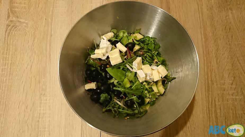 Keto egg salad recipe instructions, adding Camembert cheese