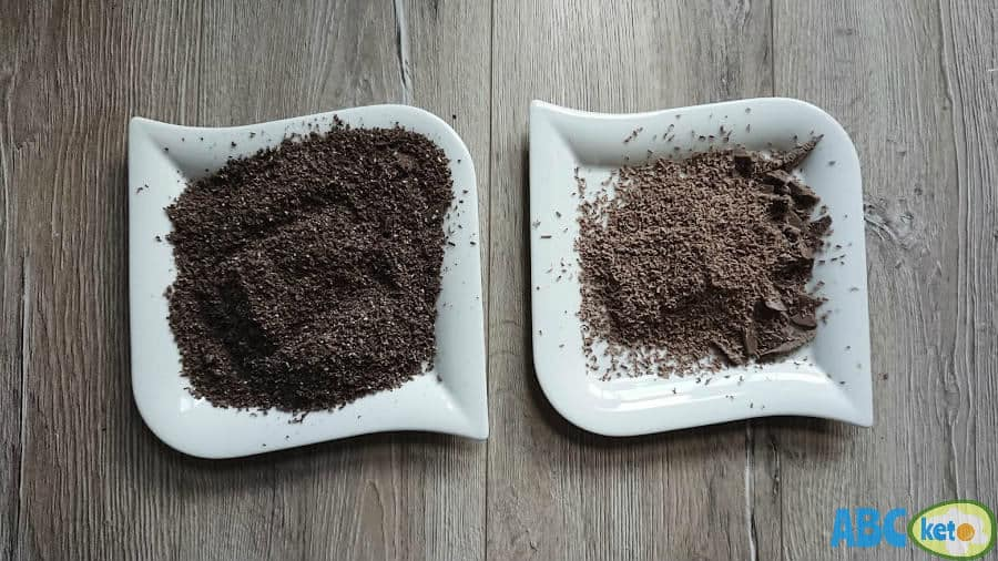 Grated chocolate for keto chocolate cheesecake topping