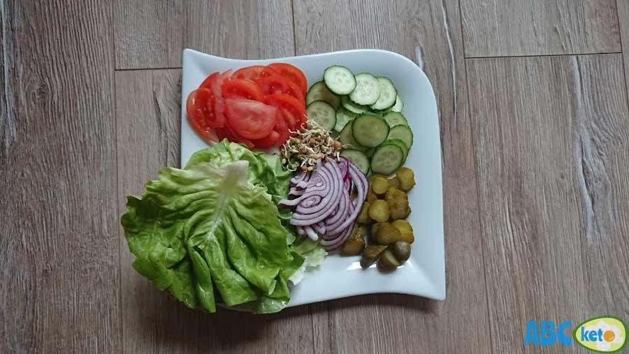 keto burgers, keto burger recipe ingredients, vegetables