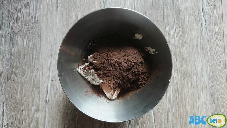 Keto chocolate cheesecake filling, cream cheese with cocoa powder