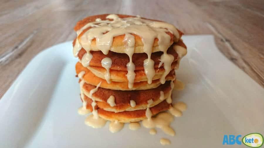 Keto pancakes with dissolved sugar-free white chocolate