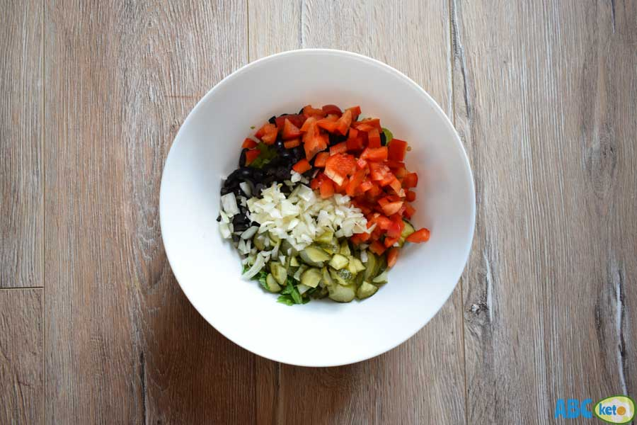 Keto chicken salad ingredients, vegetables