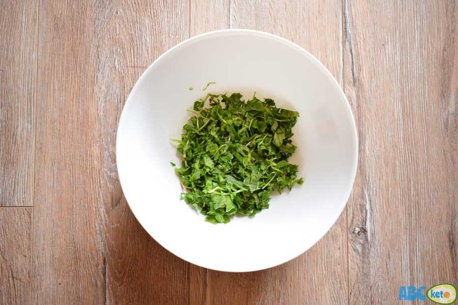 Keto chicken salad ingredients, leafy greens