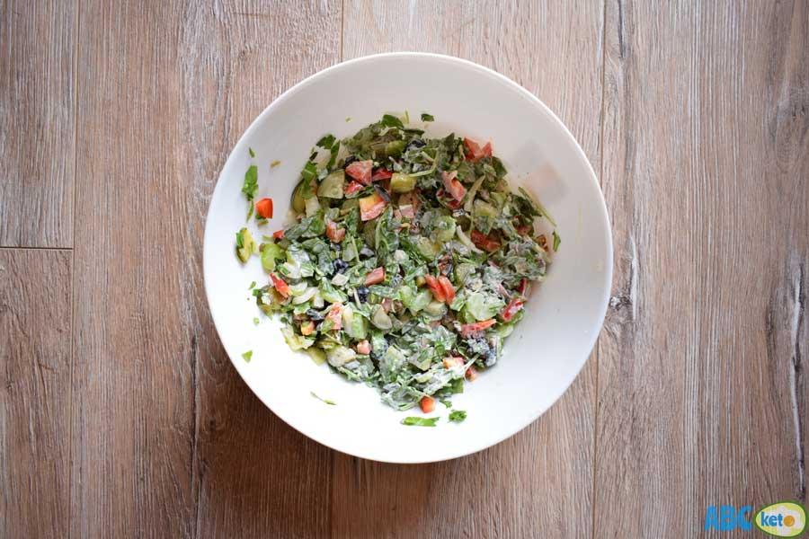 Keto chicken salad recipe, mixing ingredients