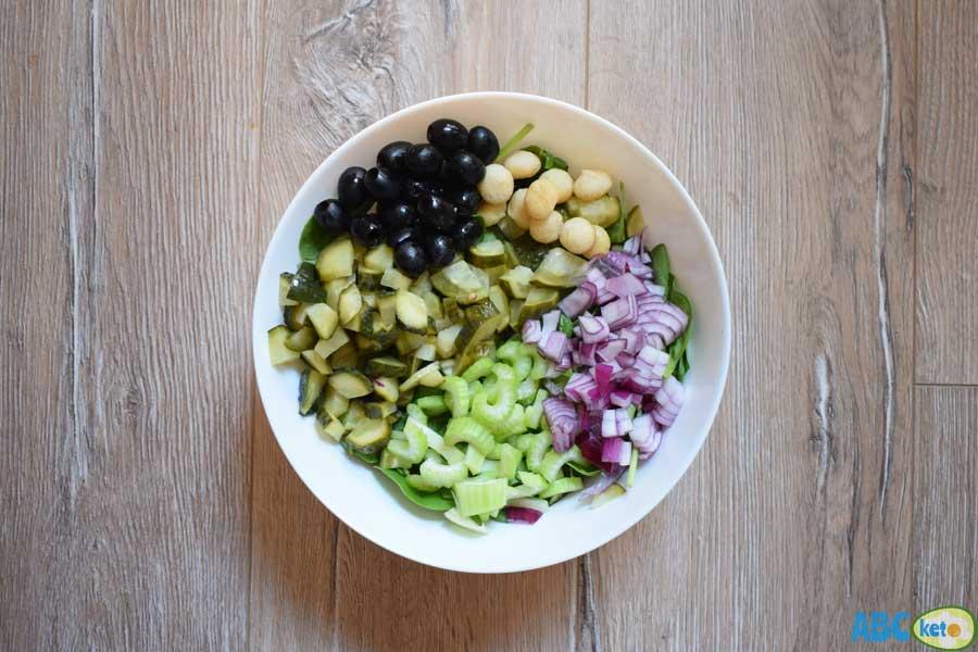 Keto spinach salad, macadamia nuts