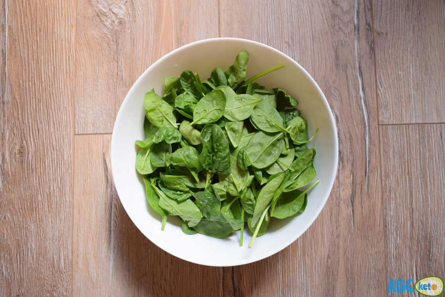 Keto spinach salad, fresh spinach leaves