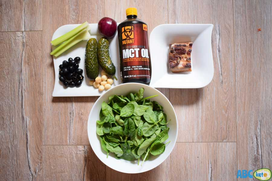 Keto spinach salad ingredients
